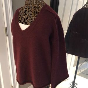Wool blend trendy flair sleeve sweater